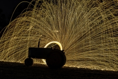 tractor steel wool light painting