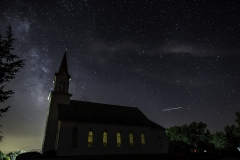 Milky Way over Church and ISS-8110