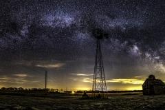 Windmill milky way Iowa farm