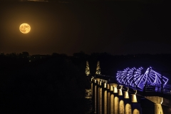 supermoon High Trestle Train Bridge