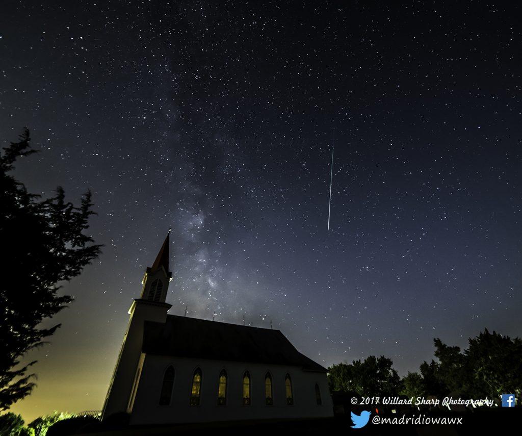Perseid meteor over church Boone County Iowa