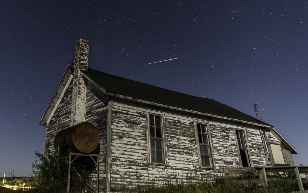 Perseid meteor abandoned building Guthrie County Iowa